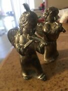 Pair Of Antique Metal His And Her Angels Set Salt Pepper Shakers
