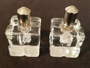 Vintage Small Crystal Table Lighters 2 Piece Set 2-1/4 Tall With Silver Caps