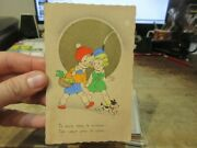 Vintage Old Antique Victorian Era Valentineand039s Day Postcard French Child Lovers