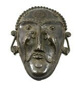 Tribal Brass Lizard Face Mask Decorative Wall Decor Vintage Collectible Item