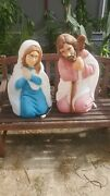 Vintage General Plastic 2 Piece Blow Mold Light Up Nativity Christmas Outdoor