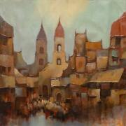 Unknown Artist European Landscape Oil On Canvas Signed And Dated Lower Right