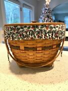Longaberger 1994 Holiday Hostess Sleigh Bell Basket W/ Prot, Liner, And Wood Lid