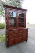 1800s Empire 2 Part Breakfront China Display Cabinet Cupboard 1756