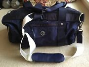 Lululemon Run On Duffel Tote Bag Lullaby Cadet Blue With Plaid Liner