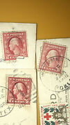 Lot Of 3 Rare Red Washington Stamps Cira 1915-1922 With Vintage Postcards