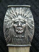 Antique Art Nouveau Sterling Unger Brothers Indian Chief Eraser Holder And Brush