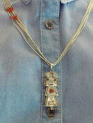 Sterling Liquid Silver And Coral Necklace With Hopi Kachina Pendant Signed