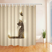 Brown Line Cat And Butterfly Fabric Bathroom Shower Curtains And Hooks 71inch