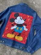 Vtg Mickey And Co. Mickey Mouse Sequin Denim Jacket Size Large