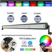 50 Inch Rgb 5d Led Offroad Light Bar Strobe Music Bluetooth Control And Wiring Kit
