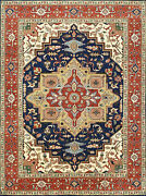 Tribal Heriz Serapi Rug 9and039x12and039 Blue/rust Hand-knotted Wool Pile