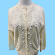 1950's Vintage Womans Beaded Cashmere Sweater W Faux Pearl Buttons Size Medium