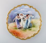 Limoges France. Large Antique Dish In Hand-painted Porcelain With Dancers.