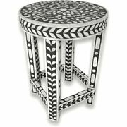 Favors Handicraft 13 Round Floral Bone Inlay Side Table In Black And White