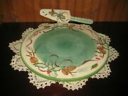 Zrike Christmas Holiday Holly 13 Plate With Server Pine Cones Holly Design New