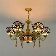 Baroque Ceiling Light Chandelier Stained Glass Mulit Light Crystal Lamp Fixture
