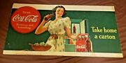 Large Coca Cola Cardboard Advertising Sign. Very Rare 1930and039s
