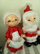 Large 18 Vintage Paper Mache Fabric And Styrofoam Mr And Mrs Santa Claus Christmas