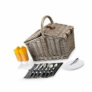 Picnic Time Piccadilly Picnic Basket For Two, Anthology Collection Grey, Yellow