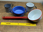 Vintage Red White Enamelware Farmhouse Water Dipper Ladle + 2 Cups And Small Pan