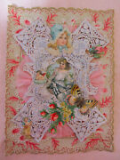 Huge Genuine Antique Victorian Valentine Card -silver Paper Lace And Cloth Ruffle