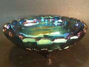 Indiana Glass Large Oval Bowl W/ Legs - Iridescent Blue Carnival Glass - Grapes
