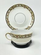 A Vignaud Limoges Tea Cup And Saucer Set Service For 4 France Vig167 Red Flowers