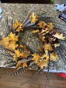 """Rare Handmade 28"""" Pheasant Wreath For The Holidays Fall 100s Of Tail Feathers"""