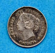 Canada 1896 5 Cents Five Cent Small Silver Coin - Vf/ef