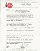The Coca-cola Bottlers Association, Atl Ga. Letterhead Dated May 10, 1957