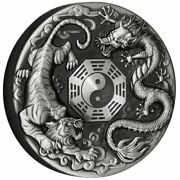 Tuvalu 2021 Andndash Dragon And Tiger With Bagua Andndash 2 Silver Coin 2 Oz