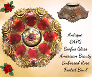 Antique Eapg Embossed American Beauty Red Rose-goofus Glass 9.5 Footed Bowl