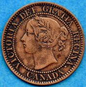 Canada 1859 Wide 9/8 1 Cent One Large Cent Coin - About Ef Cleaned