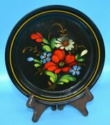Vintage Hand Painted Russian Metal Tray Platter Flowers Floral 7 Inch
