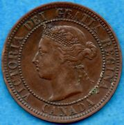 Canada 1891 Sd Ll 1 Cent One Large Cent Coin - Very Fine+