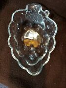 Dish Vintage Anchor Hocking Clear Glass Grapes Leaf Relish Candy Nuts Snack