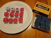 Billiards Chalk - 9 New Pioneer Blue - 12 Used Silver Cup Red