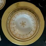 Jean Pouyat Limoges France White And Gold Poy12 Dinner Setting For Four