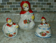 Vtg Little Red Riding Hood Covered Sugar, Creamer And Pitcher