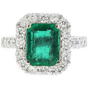 4.30ct Natural Emerald And Diamond 18k Solid White Gold Ring