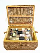 Vintage Sewing Accessories Tools Parts Wicker Woven Basket Pin Cushion Needles