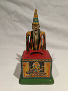 1910-1920and039s Magie German Tin Mechanical Bank With Wizard Or Magician