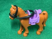 Lego Friends Summer Riding Camp Brown Horse W/ Purple Saddle And Reigns 2012 Htf