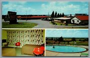 Postcard South Cadillac Mi C1960s Mcguires Motel And Grill Multi View Pool