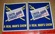 Union Standard Chew Chewing Tobacco Old Store Display Stickers Civil War Swords