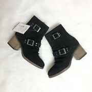 Bearpaw Size 7 Womenandrsquos Suede Amethyst Mid Heeled Boots Black Ankle Block-heel