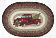 Red Christmas Truck 100 Natural Braided Jute Rug, 20 X 30 Oval, Earth Rugs