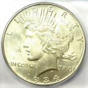 1934-d Peace Silver Dollar 1 Coin - Certified Icg Ms64 Bu Unc - 455 Value