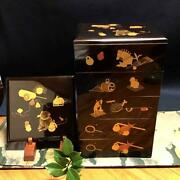 Japanese Wooden Lacquerware Antique Edo Toys Cats Rabbits Dog 5 Levels Rare F/s